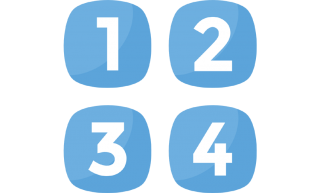 sign numbers 1 to 4