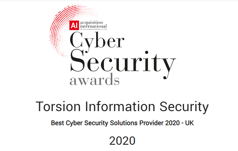 Best Cyber Security Solutions Provider 2020 Logo - Torsion named Best Cyber Security Solutions Provider 2020 - UK